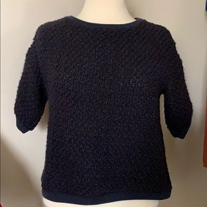 Navy Sandro textured knit top with zipper back